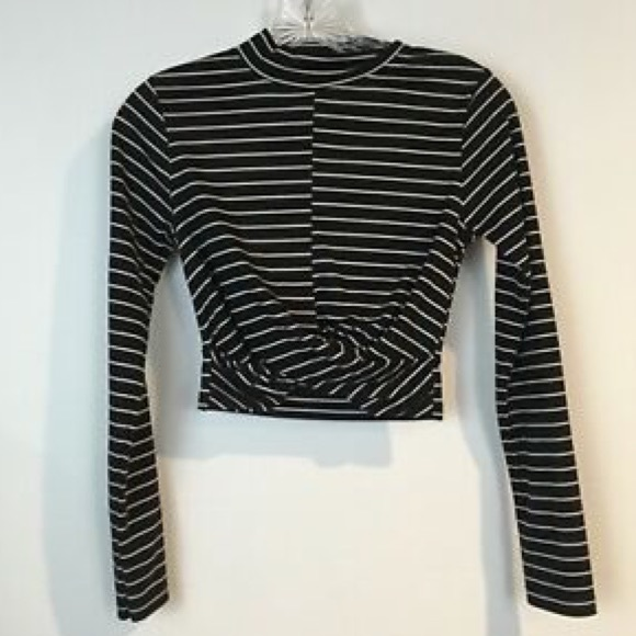 topshop cropped black and white striped top